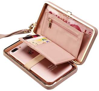 Women Clutch Wallet Purse Ladies Handbag Aeeque [Wrist Strap] PU Leather Smartphone Bowknot Pocket Multi-Card Holder Case Cover for Galaxy S8 S7 Edge J7 J3/ iPhone X 8 7 6 Plus, Gifts for Her, Rose
