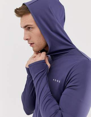 Asos 4505 4505 muscle training hoodie with quick dry in slate blue