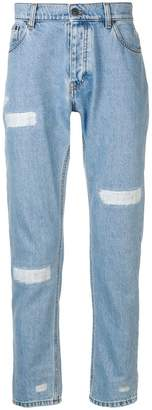 MSGM frayed tapered jeans