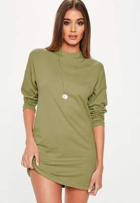 Missguided Khaki Long Sleeve Tshirt Dress