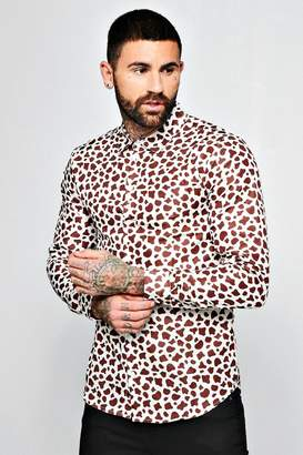 boohoo Cow Print Long Sleeve Shirt