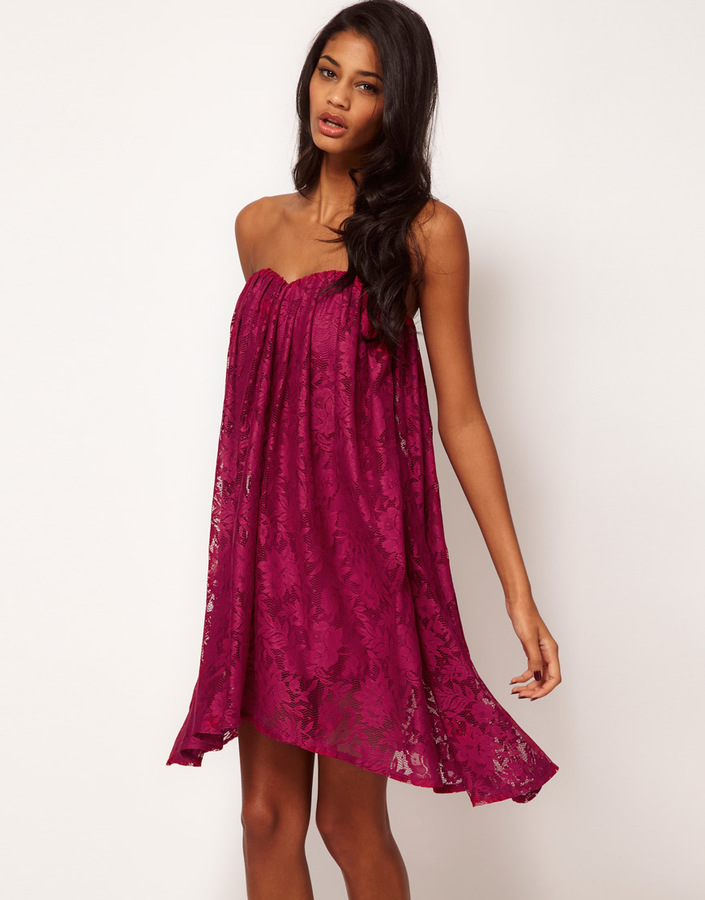 ASOS Strapless Dress in Lace