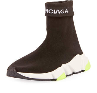 Balenciaga High-Top Fold-Down Stretch Sneakers
