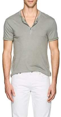 John Varvatos Men's Cotton-Blend Henley - Olive