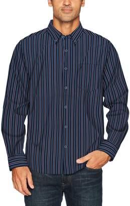 Nautica Men's Long Sleeve Poplin Stripe Wrinkle Resist Button Down Shirt