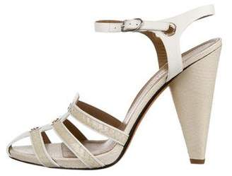 Sonia Rykiel Snakeskin-Trimmed Ankle Strap Sandals