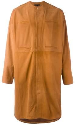 Qasimi concealed fastening collarless coat