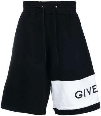 Givenchy oversized asymmetric logo track shorts