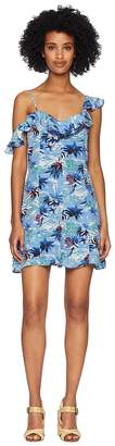 The Kooples Open Shoulder Overall in Hawaii Print China Crepe Women's Overalls One Piece