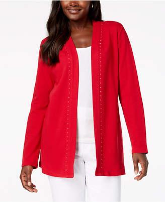 Karen Scott Cotton Studded Open-Front Cardigan, Created for Macy's