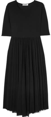 Jil Sander Asymmetric Pleated Jersey Midi Dress - Black