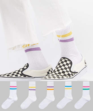 Asos DESIGN Tube Style Socks In Summer Weight With 2 Color Stripes 5 Pack
