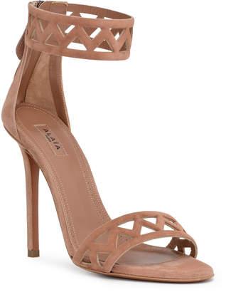 Alaia Beige suede laser-cut sandals
