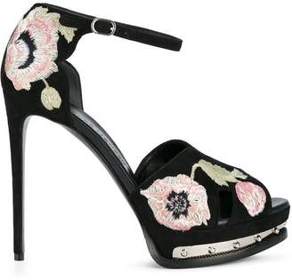 Alexander McQueen poppy embroidered hobnail sandals