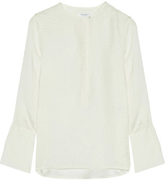 Equipment - Kenley Washed Silk-jacquard Blouse - Off-white $280 thestylecure.com