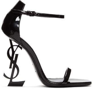 Saint Laurent Black Patent Opyum Sandals