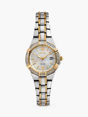 Seiko SUT068P9 Women's Solar Diamond Set Bezel Bracelet Strap Watch, Multi/Mother of Pearl