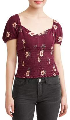 Liberty Love Juniors' Floral Printed Smocked Cropped Puff Sleeve Blouse