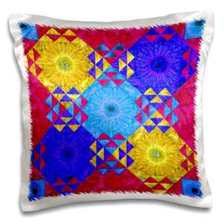 3dRose Flower collage abstract bright frame and colors of blues , yellows, red - Pillow Case, 16 by 16-inch