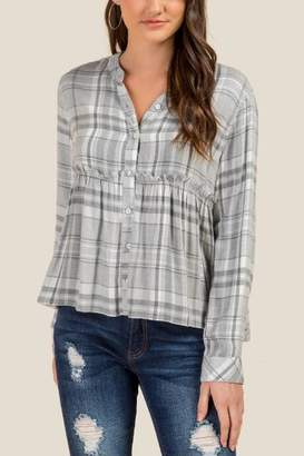 francesca's Emma Plaid Button Front Peplum - Heather Gray