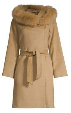 Max Mara Mango Fox Fur-Trim Wool Short Coat