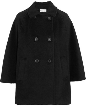 REDValentino - Double-breasted Knitted Cape - Black $895 thestylecure.com
