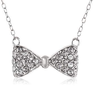 """Swarovski Sterling Silver Pave Bow Tie Necklace Made with Crystal (18"""")"""