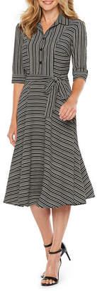 Danny & Nicole Short Sleeve Stripe Fit & Flare Dress