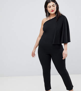 Club L Plus One Shoulder Cape Sleeve Detailed Jumpsuit