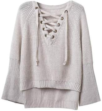 Goodnight Macaroon 'Ignis' Lace-Up Front Sweater (4 Colors)