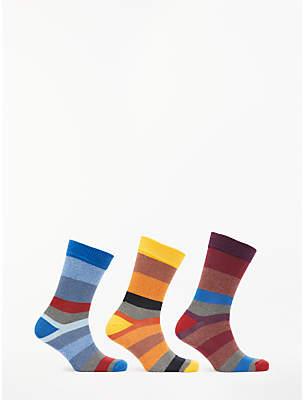 John Lewis & Partners Twisted Stripe Socks, Pack of 3, Blue/Yellow/Purple