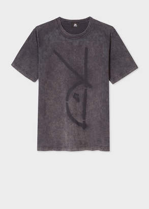 Paul Smith Men's Acid-Wash Grey Red Ear 'Rabbit Spray' T-Shirt