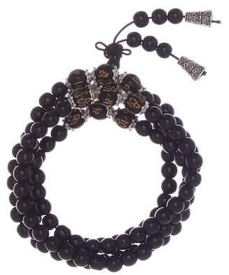Jean Claude Engraved Wood & Polished Black Tiger's Eye Beaded Multi Wrap Stretch Bracelet