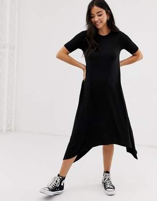 New Look smock tunic midi dress in black