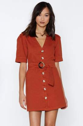 Nasty Gal Belt into You Button-Down Dress