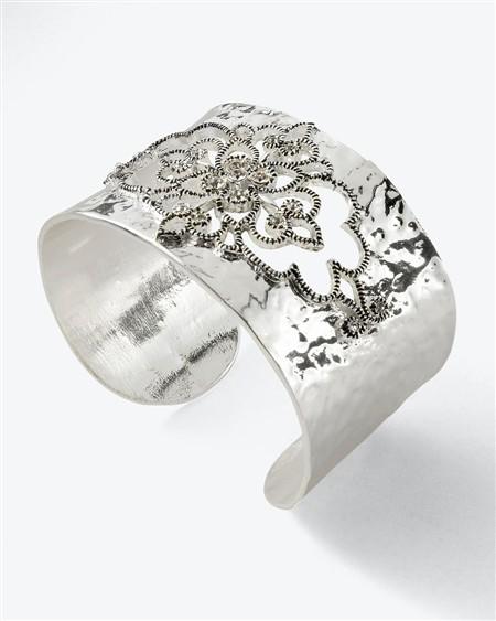 Silvertone Cutout Cuff