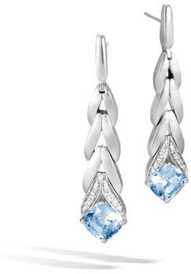 John Hardy Modern Chain Magic Cut Drop Earrings in Blue Topaz & Diamonds