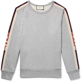 Gucci Webbing-Trimmed Loopback Cotton-Jersey Sweatshirt - Men - Gray