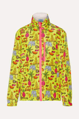 Prada Hooded Printed Silk-faille Jacket - Yellow