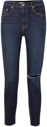 GRLFRND Kendall Distressed High-rise Skinny Jeans - Dark denim