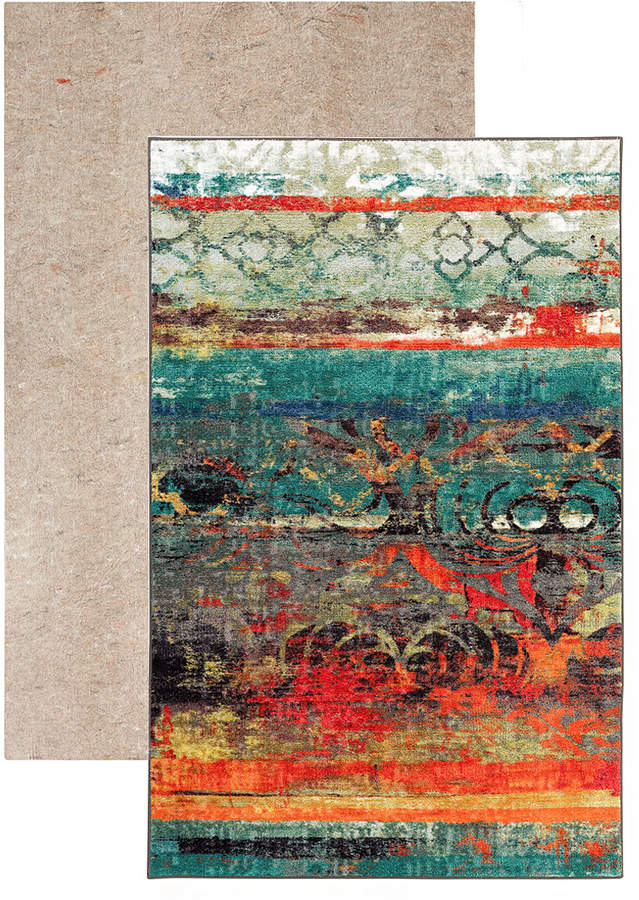 Turquoise & Coral Eroded Color Strata Rug & Rug Pad