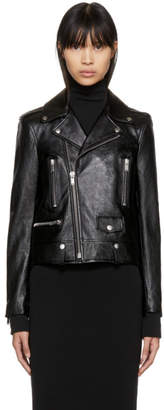 Saint Laurent Black Classic Leather Motorcycle Jacket