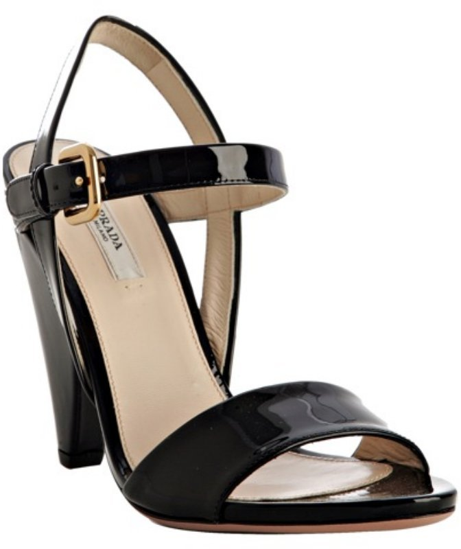 Prada black patent wide heel sandals