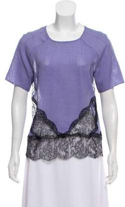 Wes Gordon Lace-Trimmed Short Sleeve Top