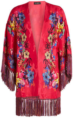 Etro Printed Poncho Jacket with Fringe