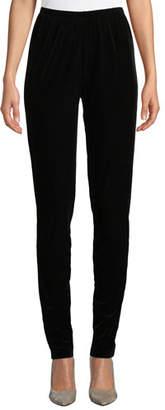 Caroline Rose Stretch Velvet Slim Legging Pants, Plus Size