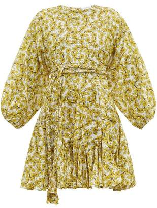 Rhode Resort Ella Floral Print Cotton Voile Dress - Womens - Yellow Print