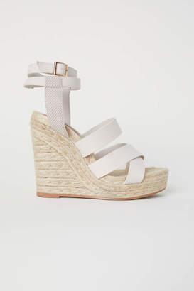 H&M Wedge-heel Platform Sandals - Beige - Women