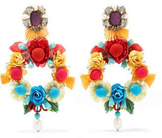 Ranjana Khan Lovebird Mother-of-pearl, Raffia And Crystal Clip Earrings - Blue