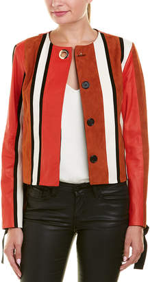 Derek Lam 10 Crosby Tie-Sleeve Leather Jacket